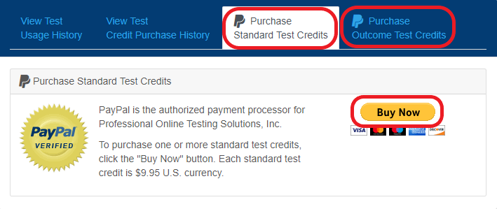 Purchase Test Credits
